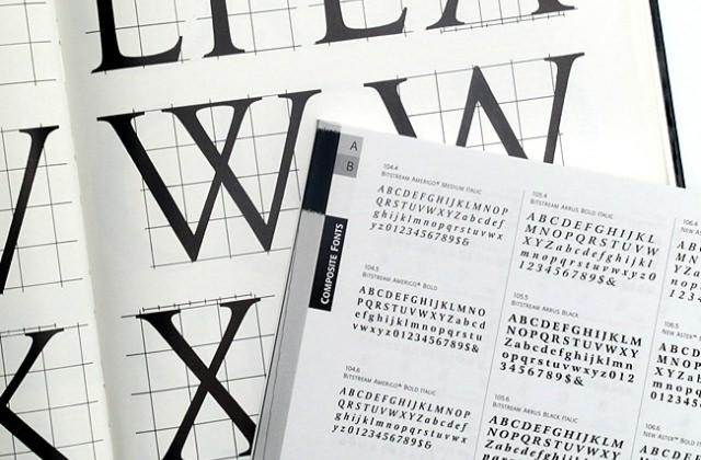 Umfangreiche Schriftenauswahl, typografische Gestaltung
