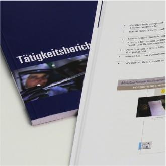 Geschäftsberichte, gedruckt und gebunden